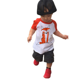 Bebé Caliente Corto Baratos-Hot Children Clothing Summer Boys camisetas de manga corta Casual Baby Shirts Tee Cartoon Fox impreso Tops Girl Round Collar camiseta A6994