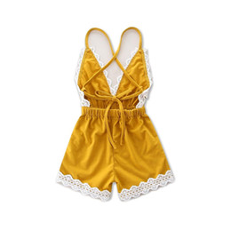 Chinese  HUG ME Wholesale baby clothes Girl's Floral Jumpsuit Suspender Trousers Pant 100% Cotton Flower Print Kids Summer Yellow romper Outfit manufacturers