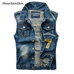 Gilets De Jeans En Gros Pas Cher-Vente en gros- Mountainstone 5XL Veste en denim pour hommes Casual Male Slim Fit Manteau sans manches Fashion Man Jeans Waistcoat Vêtements de marque LA239