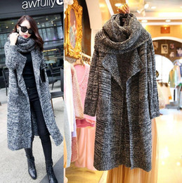 Wholesale women shawl collar cardigan sweater resale online - Winter Knitted Sweater With Scarf Shawl Turn Down Collar Loose Long Cardigan Light Dark Gray Casual Open Stitch Sweaters Coat
