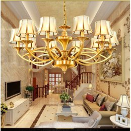 Double Switch Living Room Lighting NZ - European all copper lamp large chandelier villas stairs lights staircase chandeliers copper lamps American double floor living room lamps