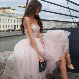 Barato Vestidos De Vestido Curto Rosa Pálido-Modest 2018 Pale Pink Tulle Short Prom Dresses Cheap Sweetheart Ruched With Sash Vestidos de festa Party Party Party