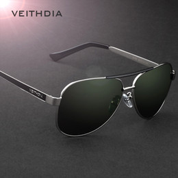 veithdia glasses 2019 - VEITHDIA Brand Designer Polarizerd Sunglasses Men Glass Mirror Green Lense Vintage Sun Glasses Eyewear Accessories Oculo