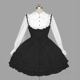 Barato Alto Necked Senhoras Vestidos-College Wind High Neck Lace Lotus Leaf Miss Noble Lady Prom Elegante vestidos de manga comprida Gothic Lolita Vestidos simples 2018 Real Photo
