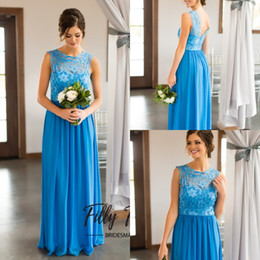 lace tops low back wedding dresses 2019 - A Line Bridesmaid Dresses Royal blue 2017 Lace Top Low Back Bridesmaid Gowns Jewel Long Chiffon Wedding Guest Gowns New