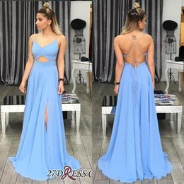 Barato Longo Graduação Vestidos Cintas-2018 Cheap Long Spaghetti Straps A Line Split Side Prom Vestidos Backless Cortar Front Formal Evening Party Vestidos Para Graduação BA6637