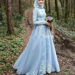 Wholesale Saudi Arabic A Line Wedding Dresses with Appliques Long Sleeves Hijab Kaftan Dubai Wedding Gowns Bridal Gowns New