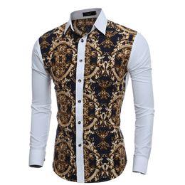 Social Shirt Slim fit online shopping - Large Vintage Floral Prints Mens Dress Shirts Long sleeve Slim Fit Casual Social Shirt for Man Chemise