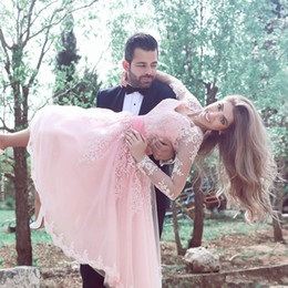 long maternity ball gowns 2019 - 2018 Pink Sweetheart Knee Length Homecoming Dresses With Illusion Sheer Long Sleeves Short Prom Party Gowns cheap long m