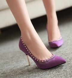 Punk Stiletto Shoes Canada - Wholesale New Arrival Hot Sale Specials Sweet Girl Good Quality Sexy Elegant Suede Purple Rivet Punk Frosted Pointed Heels Shoes EU34-39