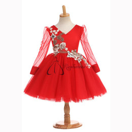Gowns For Flower Girls NZ - 2017 Real Photo Jewel Red Flower Girls For Wedding Dresses A-Line Long Sleeve Tulle V-Neck Embroidery Communion Gown For Kids Custom Made
