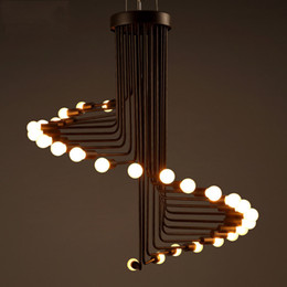 Loft Pendant Light Simple Creative Living Room Cafe Bar Spiral Shaped Multi  Heads Rotating Step Pendant Lamp