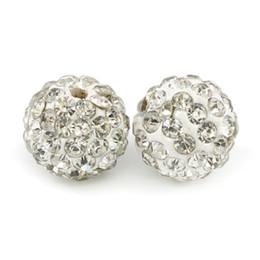$enCountryForm.capitalKeyWord UK - Ploymer Clay Shambhala Disco Ball Beads Half Drilled Round 6 Rows Rhinestone Crystal Shamballa Beads for Earring Making 100pcs bag