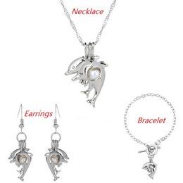 Discount oyster bracelets - Love Wish Pearl Cages Locket Jewelry Sets Hollow Dolphin Freshwater Pearls Oyster Pendant Bracelet Earrings Necklace(Exc