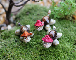 b6448cba542ef Wholesale Miniatures For Fairy Gardens Australia - 8pcs Shell straw hat  turtle miniatures for terrariums fairy
