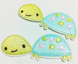 Barato Manchas De Tartaruga-Grosses 10 Pieces Kids Patch Cutie Lime Turtle (8cm x 3 cm) Full Broly Applique Iron On Patch (ALY)