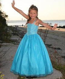 $enCountryForm.capitalKeyWord NZ - Beauty Blue Tulle Spaghetti Beads Flower Girl Dresses Princess Pageant Dresses Girl Party Dresses Custom Made 2-14 F520042