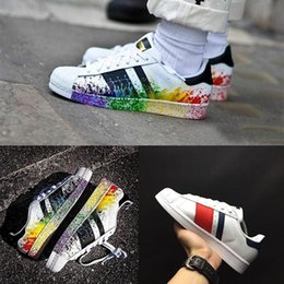 Encre Pour Femmes Pas Cher-2017 New Cheap Superstar 80S Hommes Femmes Chaussures Casual Chaussures Skate 23 Color Rainbow Splash-ink Fashion respirables Shoes us 5-11