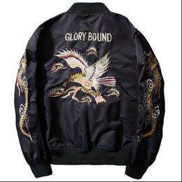 AnimAl print jAcket for men online shopping - New Fashion Men s eagle Embroidered Baseball Jackets Bomber Flight jacket Coats For Man