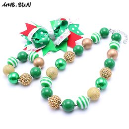 Gifts For Infant Girls Canada - MHS.SUN Green Color Heart Kid Chunky Necklace Infant Kids Bubblegum Bead Chunky Necklace Jewelry Christmas Party Gift For Children Girls