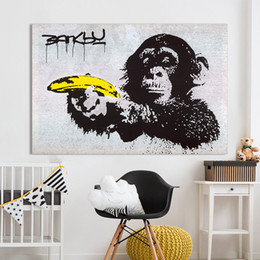 Art Canvas Prints Australia - 1 Pcs Canvas Art Banksy Graffiti Painting Chimpanzee Holding A Banana Wall Pictures For Living Room Home Decor Printed No Framed