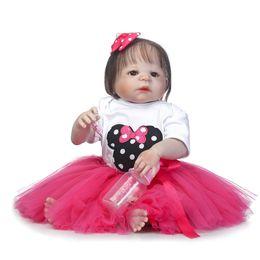 soft doll bodies 2019 - Wholesale- 23'' bebe girl reborn bonecas full body soft silicone reborn baby dolls blue brown green eyes optio