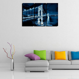wall art home bridges UK - 3 Panels,Washington Bridge Modern Abstract Canvas Oil Painting Print Wall Art Decor for Living Room Home Decoration(Unframed Frame