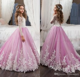 Discount birthday t shirts for kids - 2017 Adorable Lace Flower Girls Dresses For Weddings Pink Long Sleeves A Line Long Pageant Dresses for Girls Kids Prom G