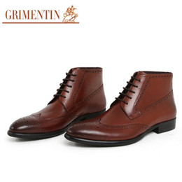 Discount italian boots brands - 2017 Brand Italian vintage fashion men boots genuine leather black business office wedding male ankle boots men shoes 20