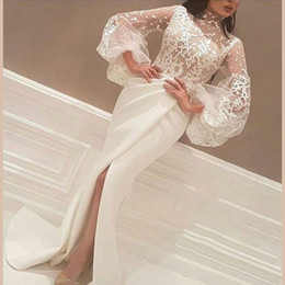 Barato Sereia Designer Vestidos-High Neck Puffy Sleeves Lace corpo plissado saia formal Vestidos 2017 Real Designer High Slits Sexy sereia Evening Dresses