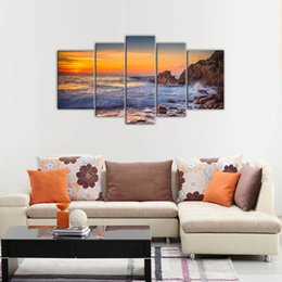 China 5 Panels Canvas Wall Art Sunset Sea View Painting Print Seascape Painting with Wooden Framed Modern Artwork for Home Decor Ready to Hang cheap oil painting view suppliers