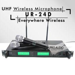 $enCountryForm.capitalKeyWord NZ - Freeshipping UR4D UR24D Professional PLL True Diversity UHF Wireless System With Dual Handheld Wireless Microphone Stage Karaoke