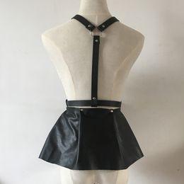$enCountryForm.capitalKeyWord Canada - Wholesale- New Leather HARNESS sexy women Body Bondage Cage Sculpting Harness Skirt Style Wide slim corset waist belts Suspenders Belt
