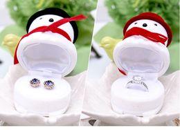 $enCountryForm.capitalKeyWord NZ - [Simple Seven] Christmas Cute Snowman Ring Box, Plastic Flocking Ear Studs Display, Red Deer Jewelry Carrying Cases