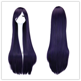 sailor moon wigs Canada - 100 Cm Sailor Moon Sailor Mars Cosplay Wig Long Straight Synthetic Hair Black Purple Wigs Costume Party Peruca Peluca
