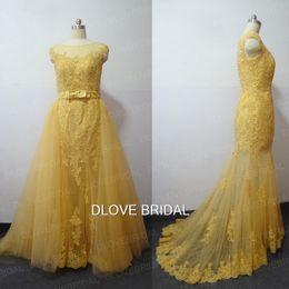 04eac72aedb Robe de mariée en dentelle dorée Illusion de rêve avec jupe de train  détachable Robe de mariée bidirectionnelle Robe de soirée Robe de soirée