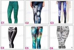 Barato Leggings Galaxy Hot-HOT 93 Styles Calças femininas Calças elásticas Star Print Sexy Galaxy Leggings Slim Stretch Black Skull Graffiti Leggings Calças Springs R1392