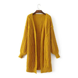 Barato Camisolas Do Casaco Amarelo Para Mulheres-High Street Knitting Yellow Long Women Cardigan Sweater 2017 Moda Outono Inverno Warm Loose Casual Oversized Poncho Femme
