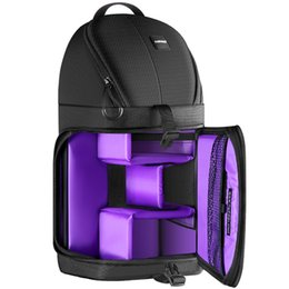 $enCountryForm.capitalKeyWord NZ - Hot Professional Sling Camera Storage Bag Durable Waterproof Black Carrying Backpack Case for DSLR Camera Purple Interior