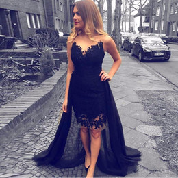 $enCountryForm.capitalKeyWord NZ - Black Short Prom Dresses Sheer Neck High Low Party Dresses Illusion Back Sheath Knee Length Navy Blue Evening Gowns Cocktail Dresses