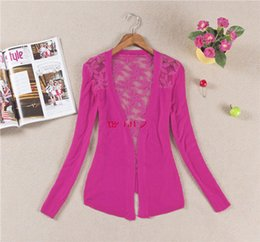 $enCountryForm.capitalKeyWord Canada - Wholesale- Spring New Style 2017 Summer Autumn Jackets Girl Women's Lace Sweet Candy Color Crochet Knit Blouse Sweater Cardigan Outerwear