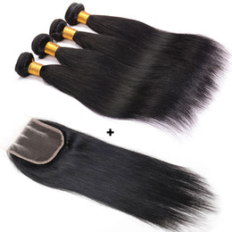 kinky hair weave light brown 2019 - Kinky Straight Hair Weaves 4 Bundles With Closure Human Hair Weft Unprocessed Indian Malaysian Brazilian Straight Bundle