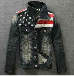 $enCountryForm.capitalKeyWord Canada - Wholesale-2015 men's denim jackets Outerwear American flag male do old blue motorcycle jeans jacket coat man fashion slim jeans denim