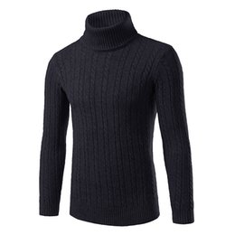 Barato Alto Colar De Gola Alta-Atacado- New Autumn Winter Turtleneck Camisolas para homens Pullovers de malha Homens Solid Stretch Slim Fit High Collar Red White Sweater For Men