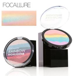 Diy Powder Canada - FOCALLURE Pro DIY Rainbow Highlighter Powder Palette Bronzer Contour Soft Mineral Face Highlighter Makeup Palette Kit FA35