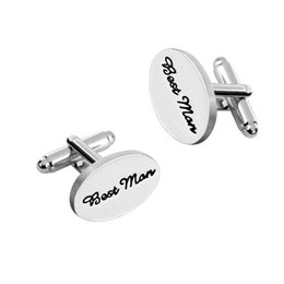 Novios De La Boda Baratos-Gemelos de boda para hombres Camisa OVAL Clips de unión de puño Best Man / Grooms / Padrino de boda / Father of the Bride / Father of the Groom Accesorios de regalo