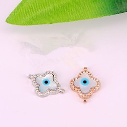 Micro Pave Connectors Australia - 14mm 4 Colors Micro Pave Zircon CZ MOP Shell Evil Eye Connector Beads For Charms Bracelet Making