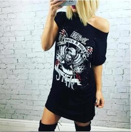 Vente De Chemises Femme Pas Cher-Femmes Eagle Skull Long style T-Shirt Europe et Amérique Summer Hot Sale Eagle Skull Imprimer Long Sleeve T-Shirt Dress LIVRAISON GRATUITE