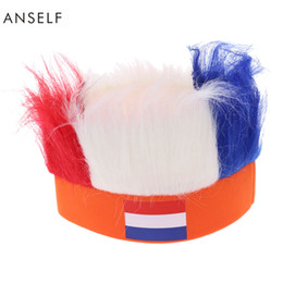 Discount cosplay flags - Wholesale- ANSELF 16 Country Flag Football Soccer Fans Wig Head Cap European Cup World Cup Sports Carnival Festival Cosp