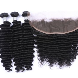 African American Hair Wholesale Australia - Deep Curly Hair Bundles With Lace Frontal 13x4 Deep Wave Curly Ear To Ear Lace Frontal With Hair Extensions For African American